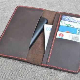 Чехол для телефона темно-коричневого цвета из натуральной кожи H04-450+red