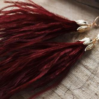 Серьги-кисти из перьев страуса