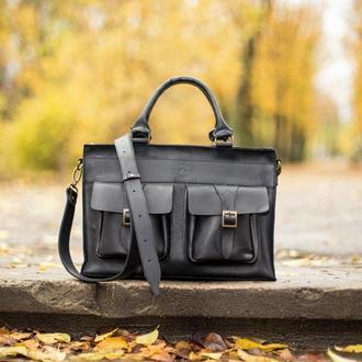 Мужской черный кожаный портфель, Сумка мужская кожаная