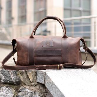 Спортивная сумка Sport&Travel. Кожаная коричневая дорожная сумка