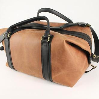 Велика дорожня шкіряна сумка. Спортивна сумка з вінтажній шкіри