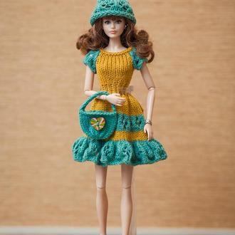 Одежда на куклу. Комплект на Барби. Горчица+ зеленая морская волна.
