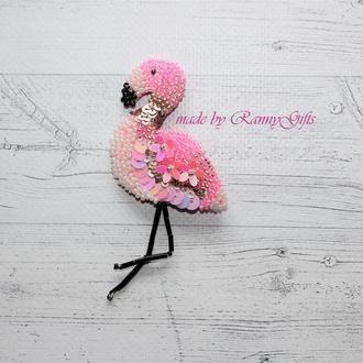 Брошь из бисера Розовый Фламинго, брошь, вышитая брошка в подарок