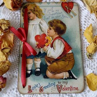 Открытка-валентинка на деревянной основе