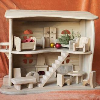 Дерев*яний ляльковий будиночок на 2 поверхи