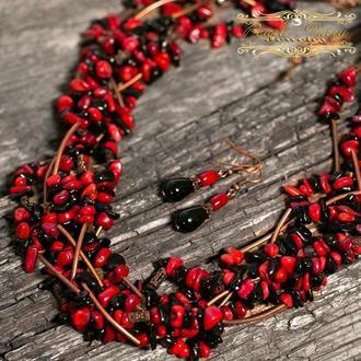 Комплект з натуральних коралів та натуральних агатів семирядне намисто сережки