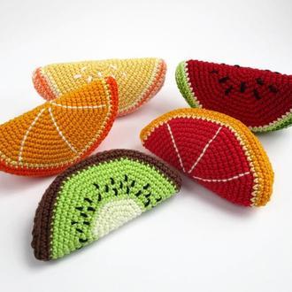 1шт-долька фрукта/вязаные игрушки в виде еды/тактильные игры