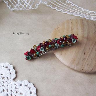 Красная цветочная заколка для волос, аксессуар для волос, подарок для девушки