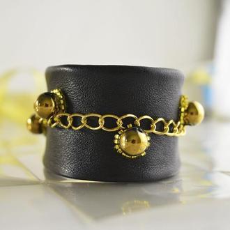 """Кожаный браслет женский """"Gold Magic"""""""
