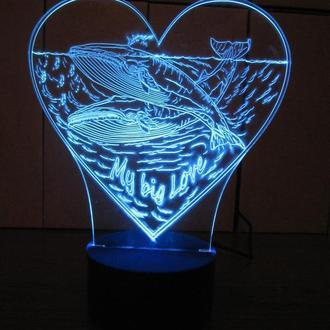 2 кита в сердце, ночник акриловый, LED лампа, светильник, необычный подарок, для влюбленных, декор