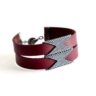 Женский кожаный браслет Браслет из бисера Стильный кожаный браслет Купить кожаный браслет