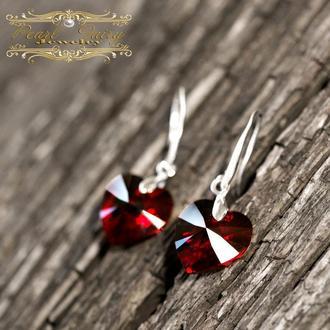 Срібні сережки з Swarovski hearts кристалами подарунок на день закоханих