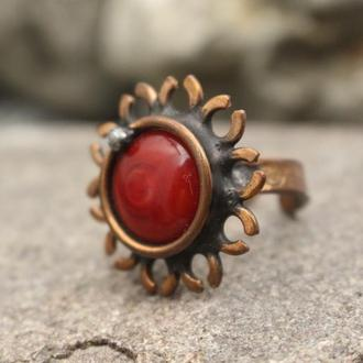 Кольцо медное красное Подарок девушке