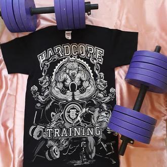 Мужская футболка для тренировок с авторским принтом Спортивные псы (рисунок дублируется на спине)
