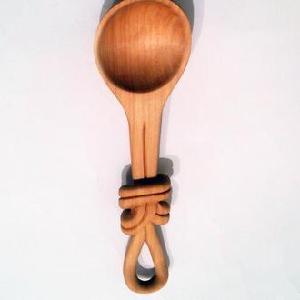 Ложка из вербы с декоративным узлом