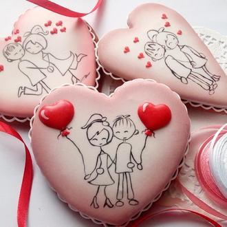 """Пряничное сердце-валентинка """"Влюбленные"""" в ассортименте"""