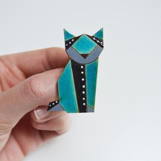 Деревянный значок геометрический кот