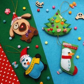 Новогодние елочные игрушки из фетра
