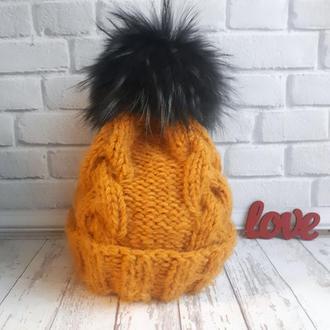 Зимняя теплая шапка, горчичная шапка
