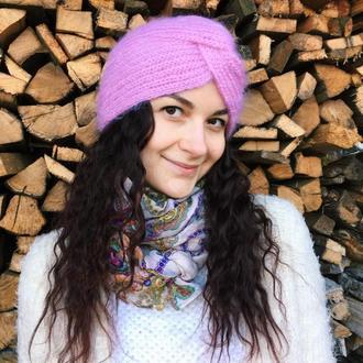 Шапка чалма, тюрбан, розовая вязанная шапка, вязанная чалма, шерстяная чалма зимняя шапка