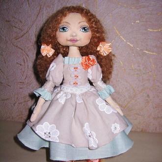 Текстильная, интерьерная кукла Даша.Кукла из ткани с нарисованным лицом, рост 25 см.