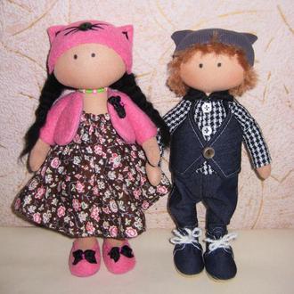 Текстильные куклы, набор кукол мальчик и девочка