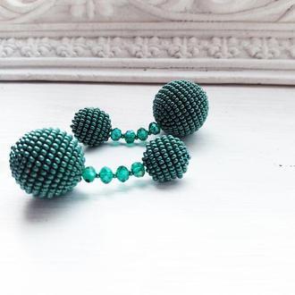 Бісерні сережки кульки зі скляними намистинами