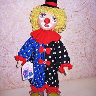 Текстильная кукла Клоун, игрушка из ткани Клоун, Клоун мягкая кукла ручной работы, авторская кукла