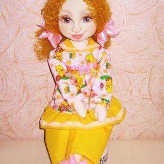 Текстильная кукла Ксюша, авторская кукла , мягкая текстильная скульптура, игровая кукла