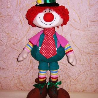 Текстильная кукла Клоун, интерьерная игрушка Клоун
