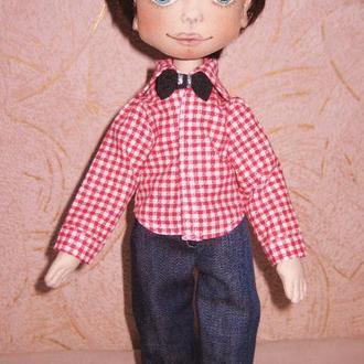 Текстильная кукла мальчик Кирюша, кукла из ткани ручной работы, тряпичная кукла мальчик