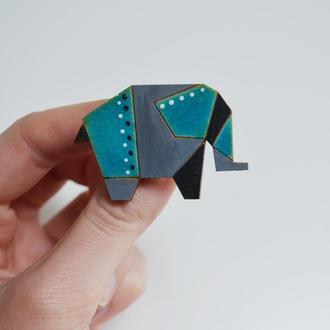 Деревянная брошь Слон. Подарок для девушки
