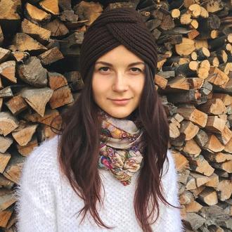 Шапка чалма, тюрбан, коричнева в'язана шапка, вязанная чалма, шерстяная чалма зимняя шапка