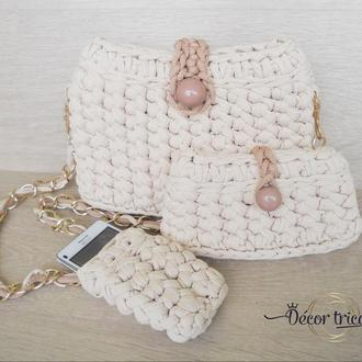 Вязаная сумка, клатч и чехол на телефон из трикотажной пряжи. Маленькая бежевая сумочка. Комплект.