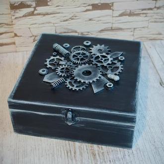 Шкатулка для мужских часов в стиле стимпанк