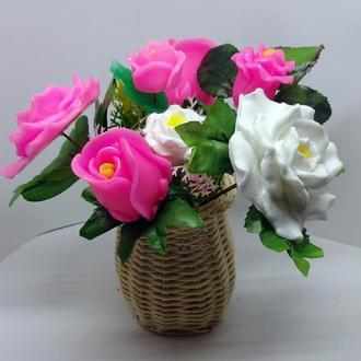 """Букет """"Розы"""" бело-розовые."""