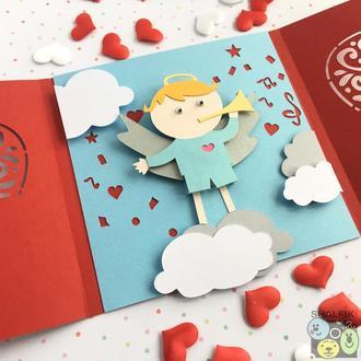 """😇 """"Мой ангел Блондин"""" механическая открытка в подарок любимым"""