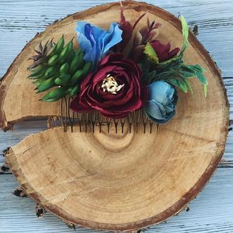 Гребінь для волосся квіти суккулент колір марсала, заколка для волосся, прикраса для весілля Бордо