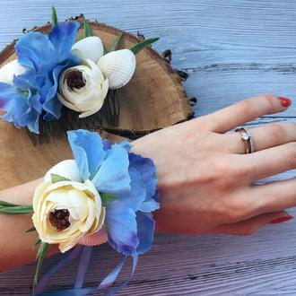 Прикраса для волосся, гребінь блакитно білий для весілля, заколка з мушлями для випускного вечора