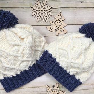 Шапка для мами та сина доньки, фемелі лук для матері та дитини В'язані шапки для родини, однакові
