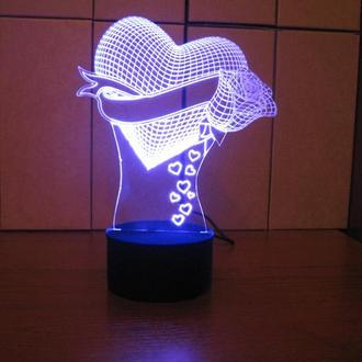 Сердце с розой, акриловый ночник, led светильник, лампа, романтический подарок девушке женщине