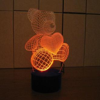 Мишка с сердцем, акриловый ночник, светильник, лампа, романтический подарок, дизайн, декор
