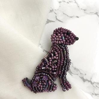 Брошь из бисера «Фиолетовый пес»