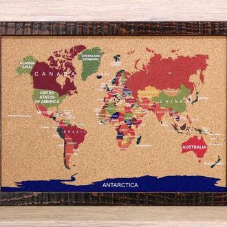 Пробковая карта мира S, путешествие, органайзер.