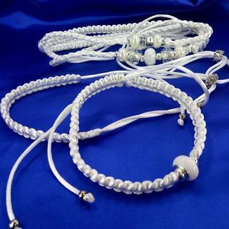 Белая ринговка для собак и браслет для хозяйки