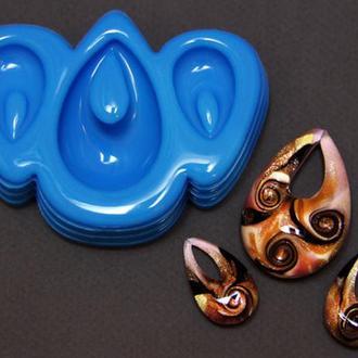 """Молд форма для смолы в венецианском стиле """"Murano glass"""" Серия Стекло Мурано для отливки 3 украшений"""