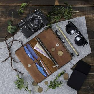 Элегантный кожаный клатч, портмоне, тревел-кейс, кошелек. Табак,  Vintage