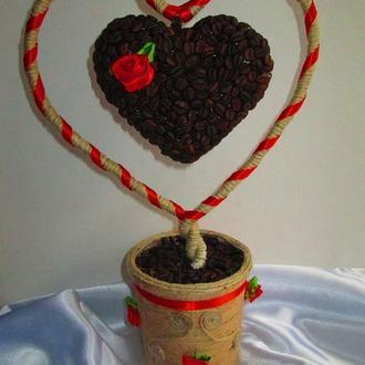 Ароматные сердечки-валентинки из натуральных кофейных зерен!