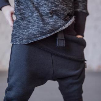 Штаны унисекс с накладной деталью, синие. Размер 116,122 см