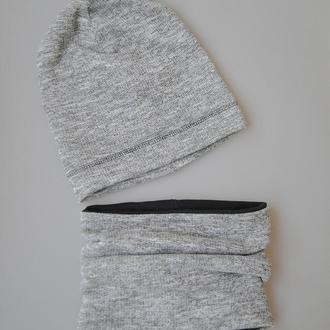 Комплект на глубокую осень: серый с черным. ОГ 42-44, 48-50, 50-52, 52-54, 54-56 см